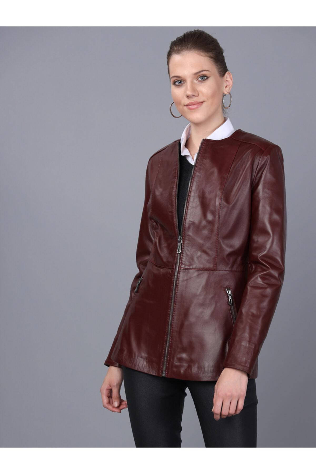 Basics&More Kadın Mürdüm Deri Ceket - Bm03 2