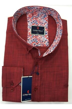 Castelli Erkek Kırmızı Büyük Beden Keten Gömlek