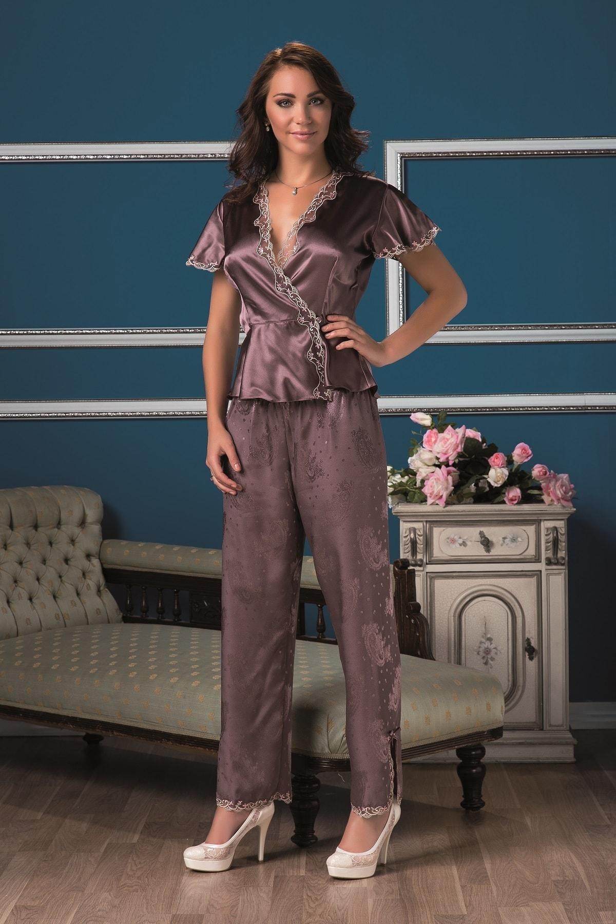 Karmen Kadın Mürdüm Saten Pijama Takımı 1