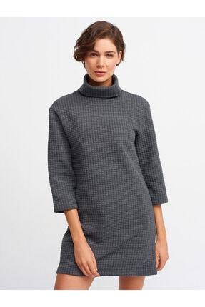 Dilvin Kadın Gri Balıkçı Yaka Örme Elbise 9082