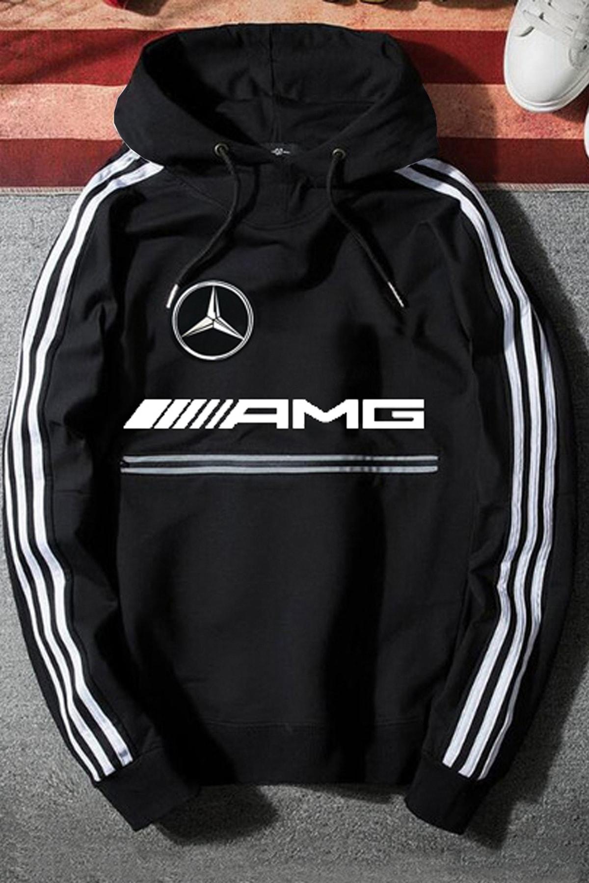 WEST BULLS Unisex Siyah Mercedes Amg Kapüşonlu Baskılı Oversize Sweatshirt 1