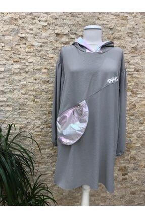 Loreen Kadın Gri Çanta Cep Detaylı Tesettür Tunik