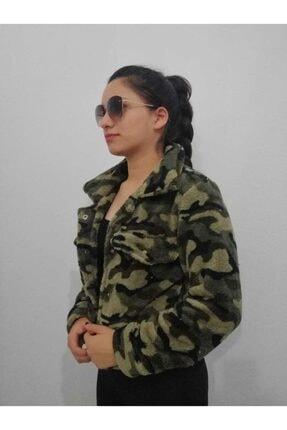 ÖzEl Butik Kadın Yeşil Asker Desen Peluş Ceket