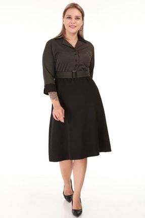 Lir Kadın Siyah Kemerli Truvakar Kol Ofis Elbise