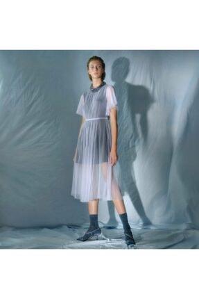 Yargıcı Kadın Mor Bisiklet Yaka Midi Elbise