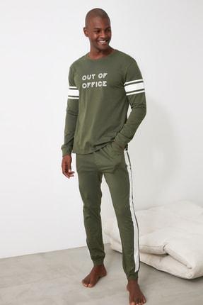 TRENDYOL MAN Haki Sloganlı Örme Pijama Takımı THMAW21PT0680