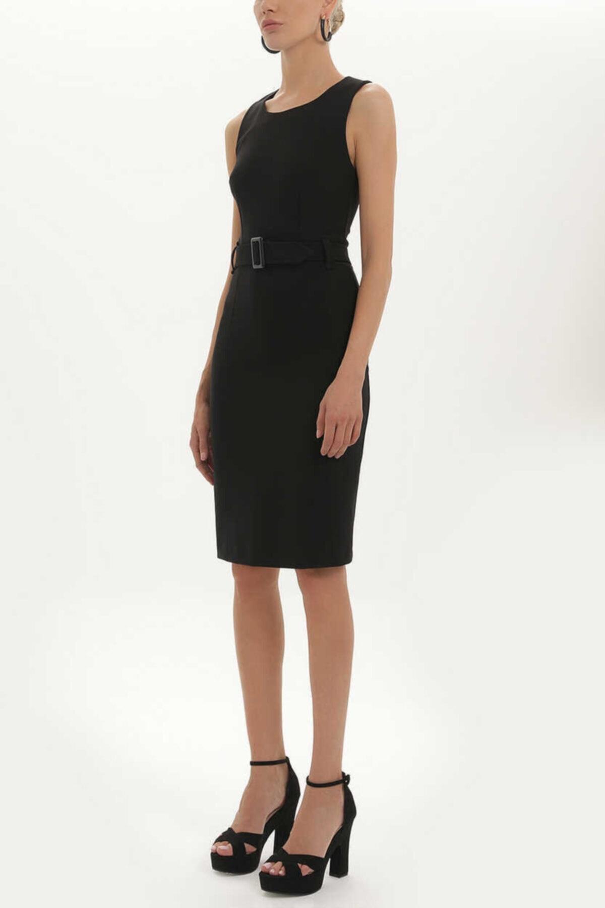 SOCIETA - Kemerli Likralı Elbise 91728 Siyah 1