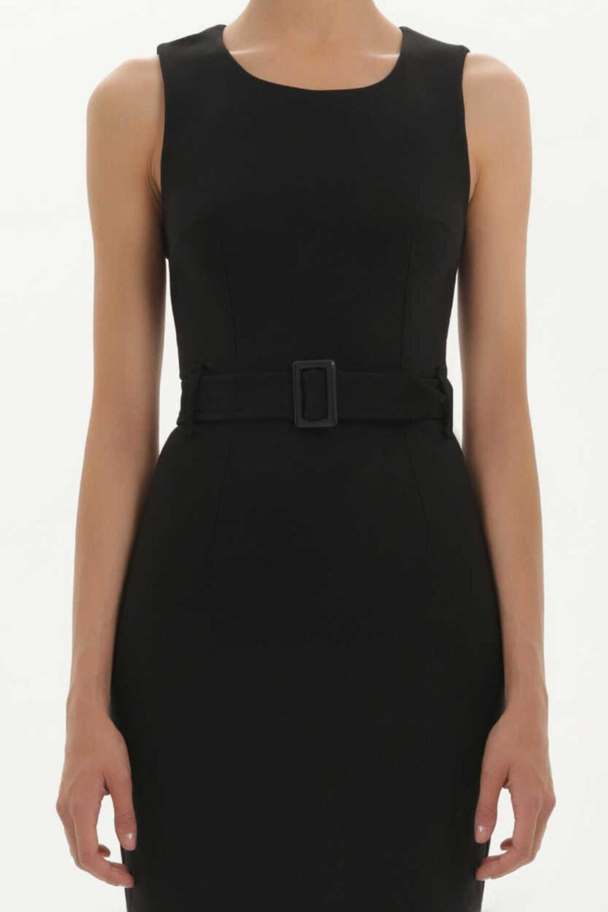 SOCIETA - Kemerli Likralı Elbise 91728 Siyah 2