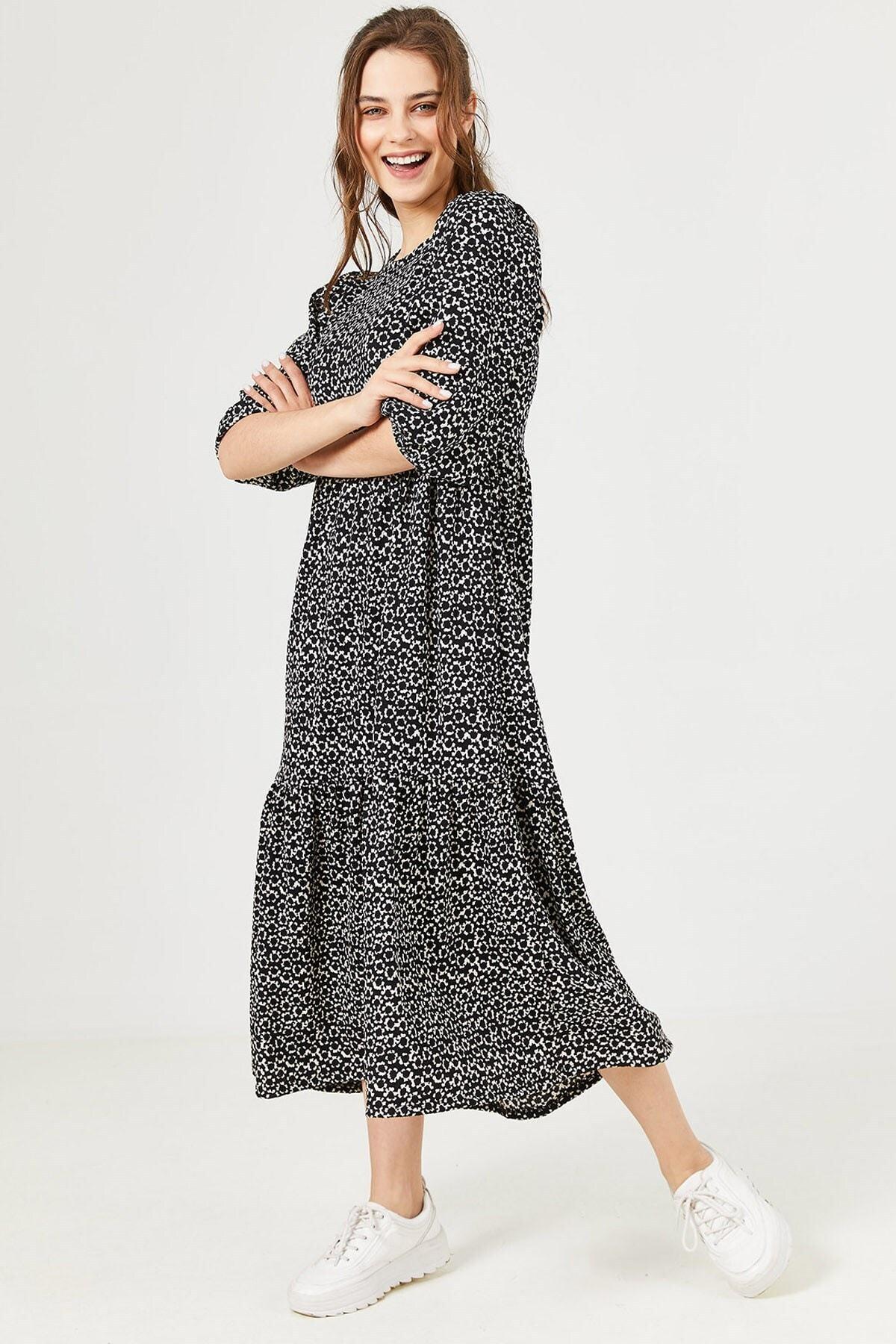 Loukai Kadın Siyah Dökümlü Günlük Elbise 2