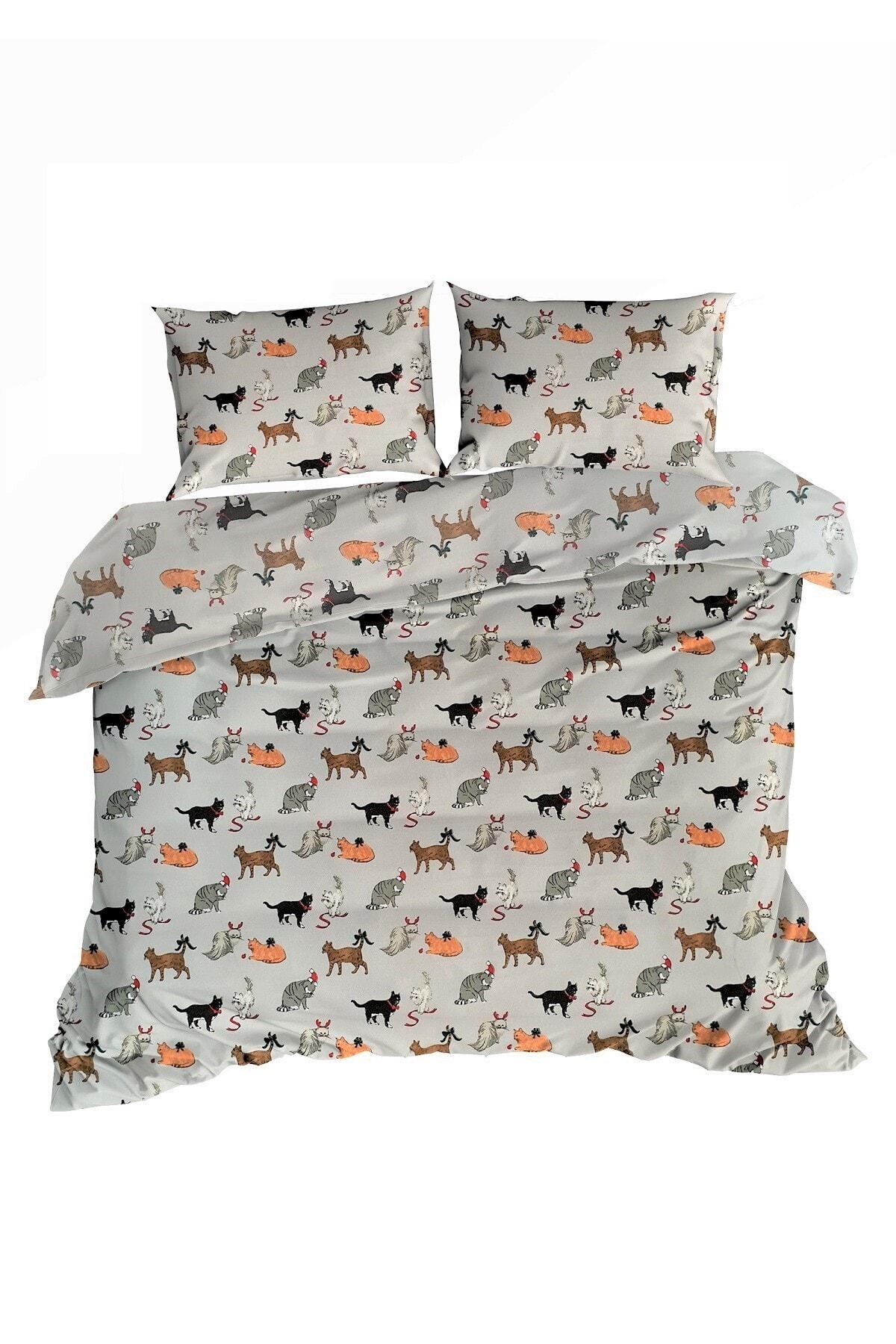 Maki Kediler Pamuk Flanel Pazen Çift Kişilik Nevresim ve 2 Yastık Kılıfı Seti  20 1