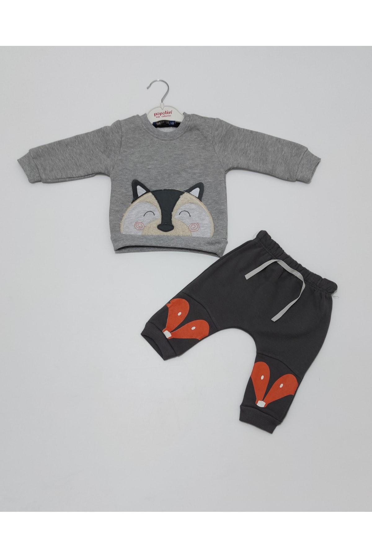Popolin Erkek Bebek Gri Renk Kışlık Üç Iplik Şardonlu  Ikili Takım 1