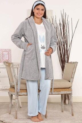 Lohusa Sepeti Kadın Rabbit Mavi Polar Sabahlıklı Lohusa Pijama Takımı 3805
