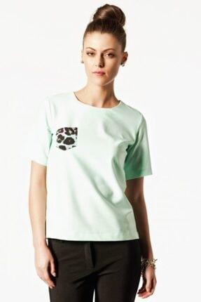 NK Kadın Mint Yeşili Leopar Cep Detaylı Bluz