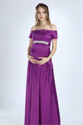 Moda Labio Kadın Mor Saten İncili Hamile Elbise