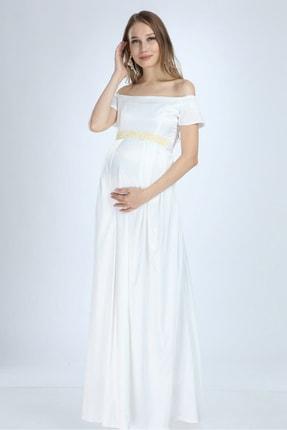 Moda Labio Kadın Beyaz Saten İncili Hamile Elbise