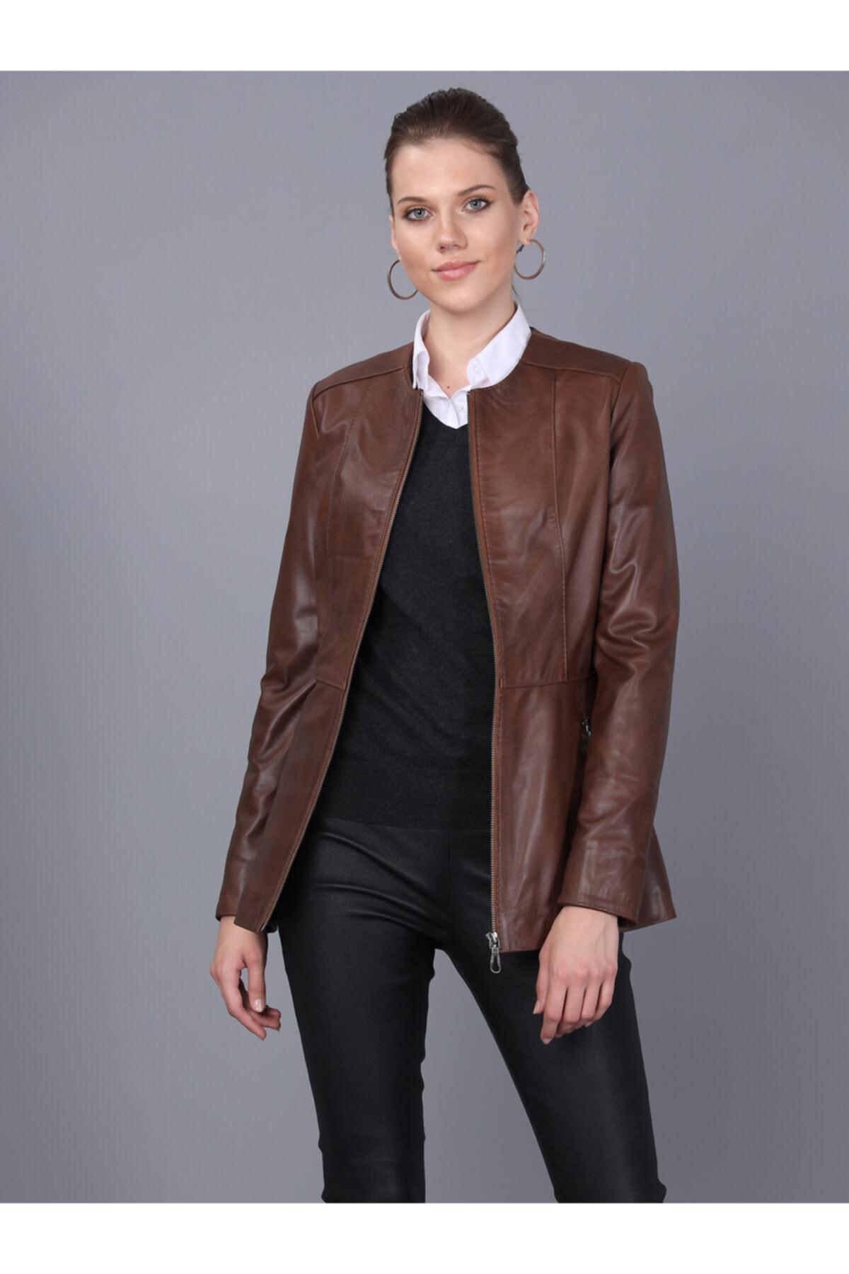 Basics&More Kadın Kestane Deri Ceket Bm03 1
