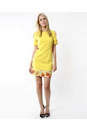 NK Kadın Sarı Altı Desenli Kısa Kollu Elbise