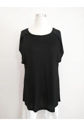 Vekem Kadın Siyah Sıfır Yaka Japone Kol Bluz 9107-0071