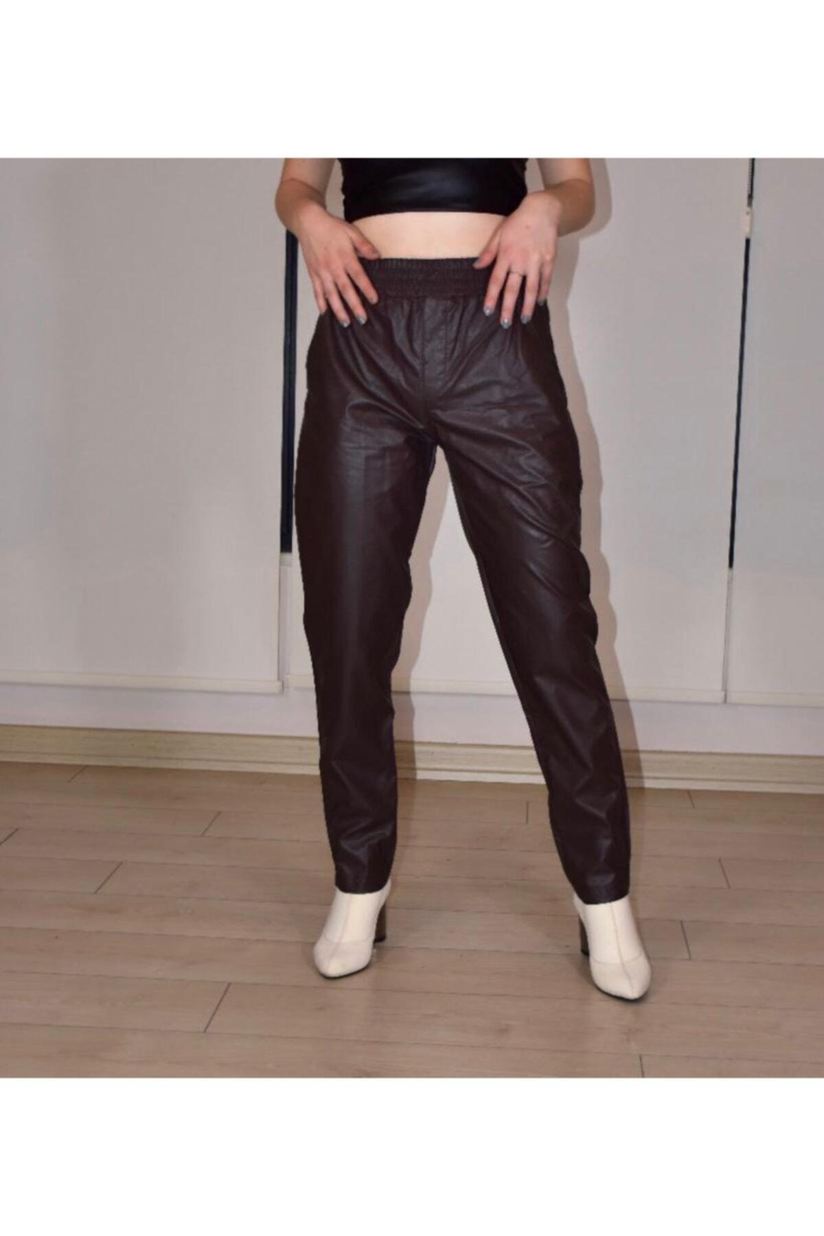 BEBE PLUS Kadın Kahverengi  Belden Lastikli Deri Pantolon 1