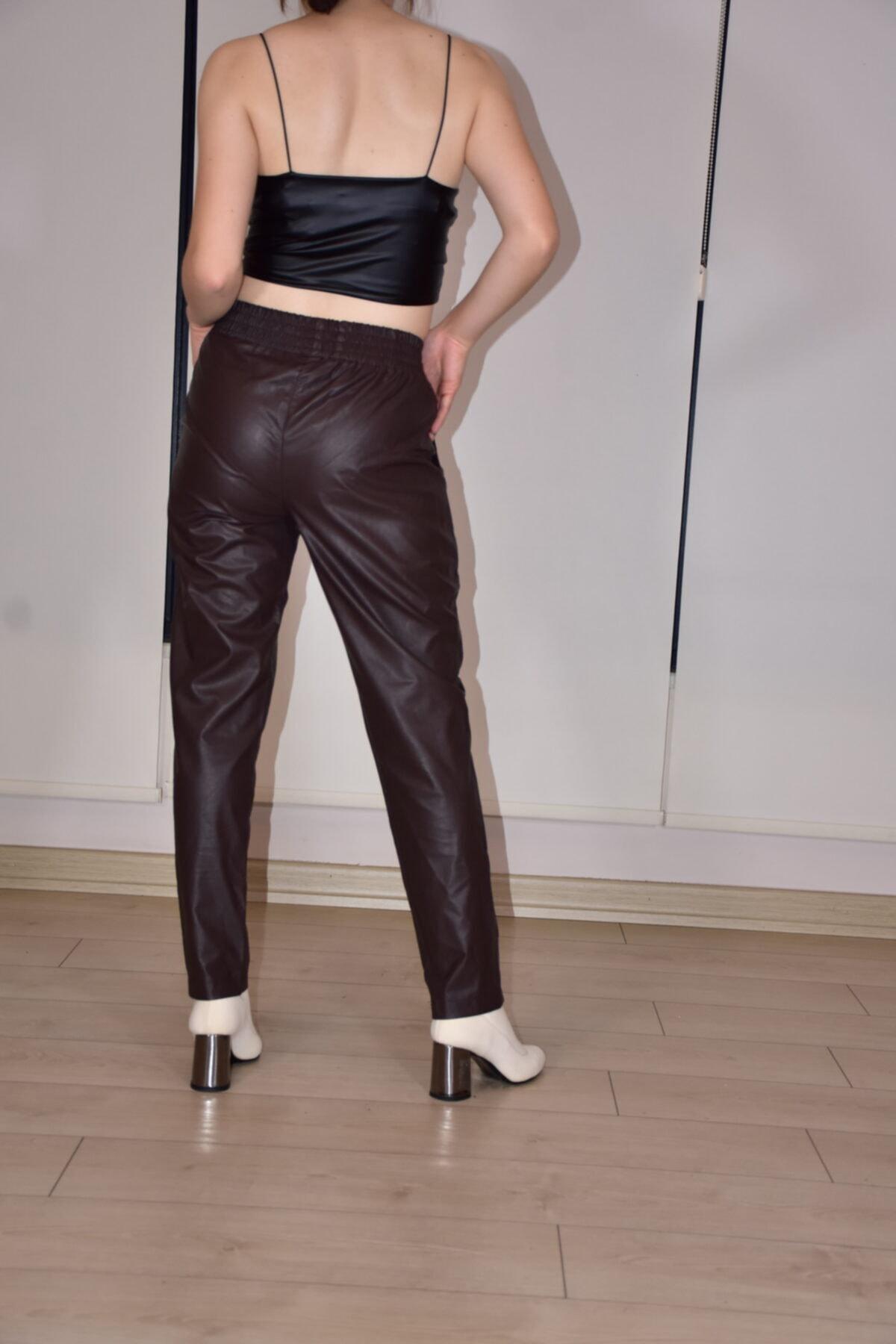 BEBE PLUS Kadın Kahverengi  Belden Lastikli Deri Pantolon 2
