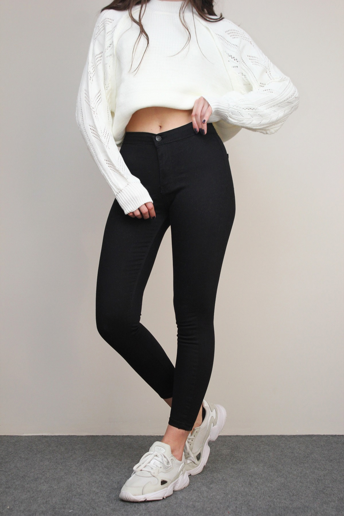 Amazoons Kadın Siyah Solmayan Yüksel Bel Likralı Toparlayıcı Skinny Jeans Pantalon 1