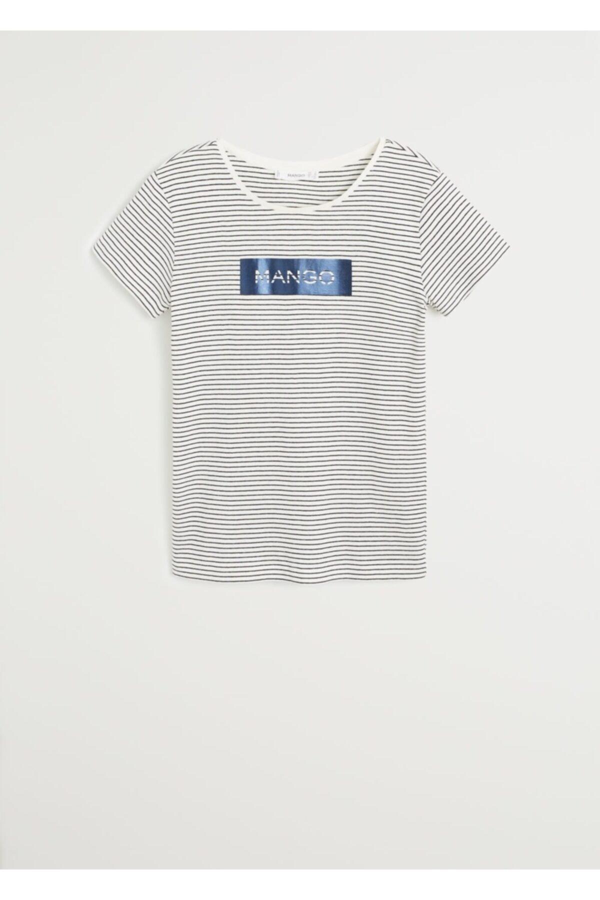 MANGO Woman Kadın Lacivert Pamuklu Logolu Tişört 67000604 2