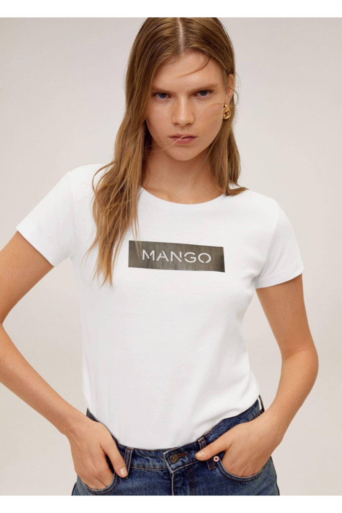 MANGO Woman Kadın Beyaz Pamuklu Logolu Tişört 67000604 2
