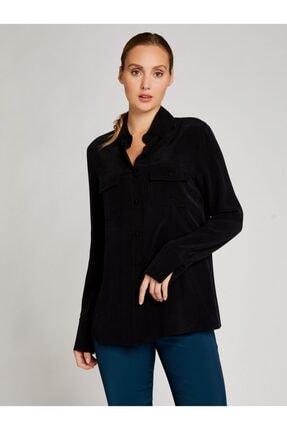 Vekem Kadın Siyah Cep Detaylı Klasik Kesim Gömlek