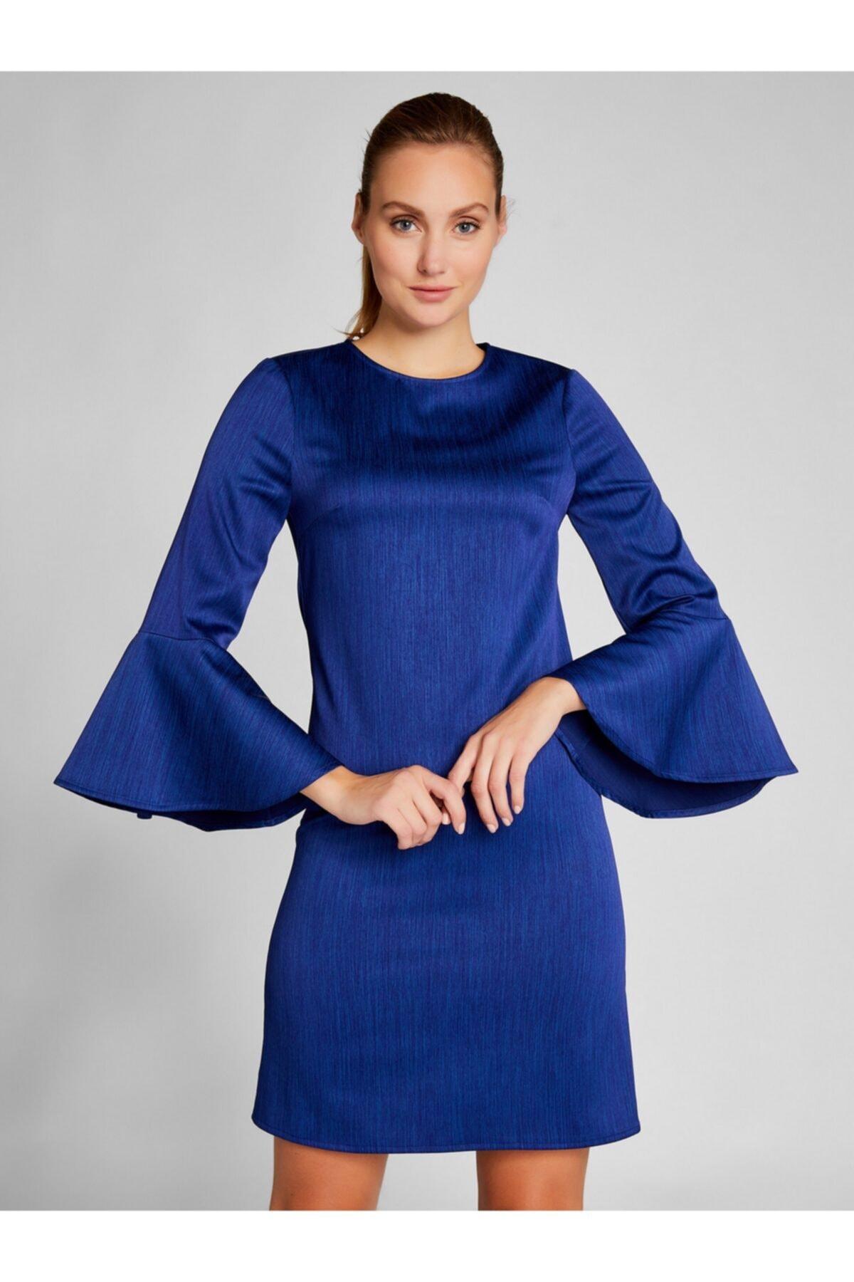 Vekem Kadın Saks Kolları Volanlı Mini Saten Elbise 1