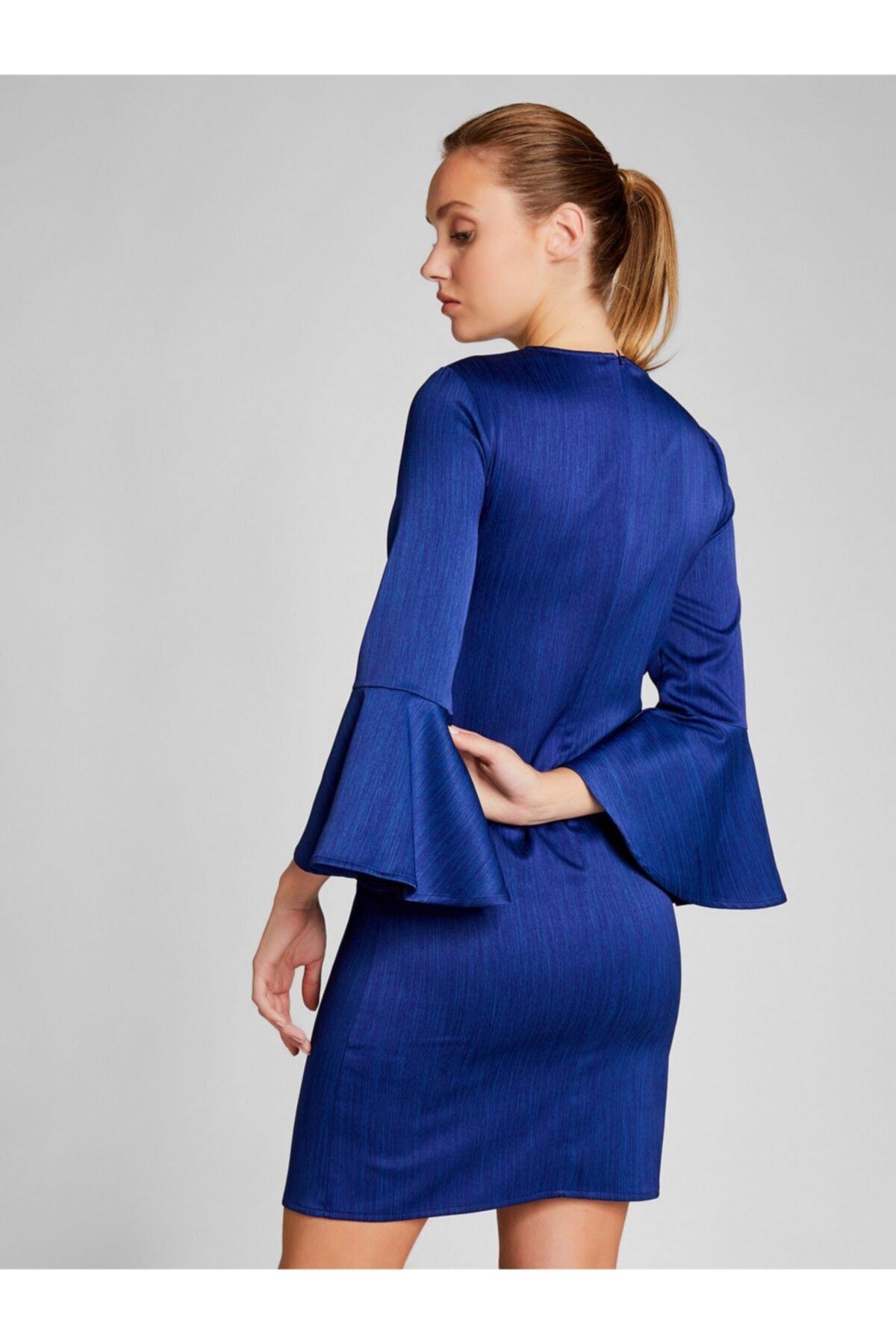 Vekem Kadın Saks Kolları Volanlı Mini Saten Elbise 2