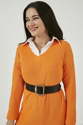 Sateen Kadın Oranj V Yaka Tunik Triko Kazak  STN220KTR333