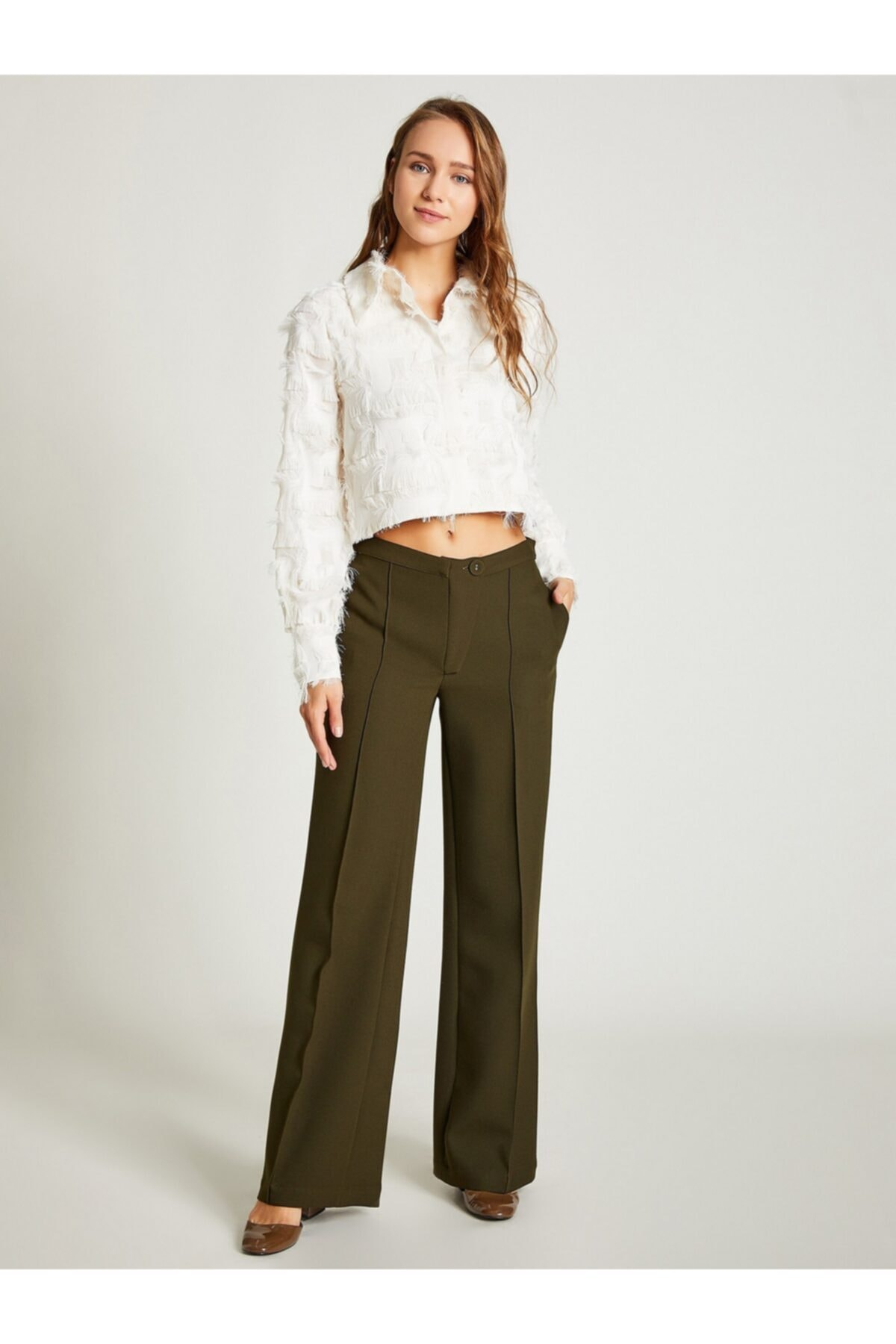VKM Kadın Haki Rahat Kesim Pantolon 1