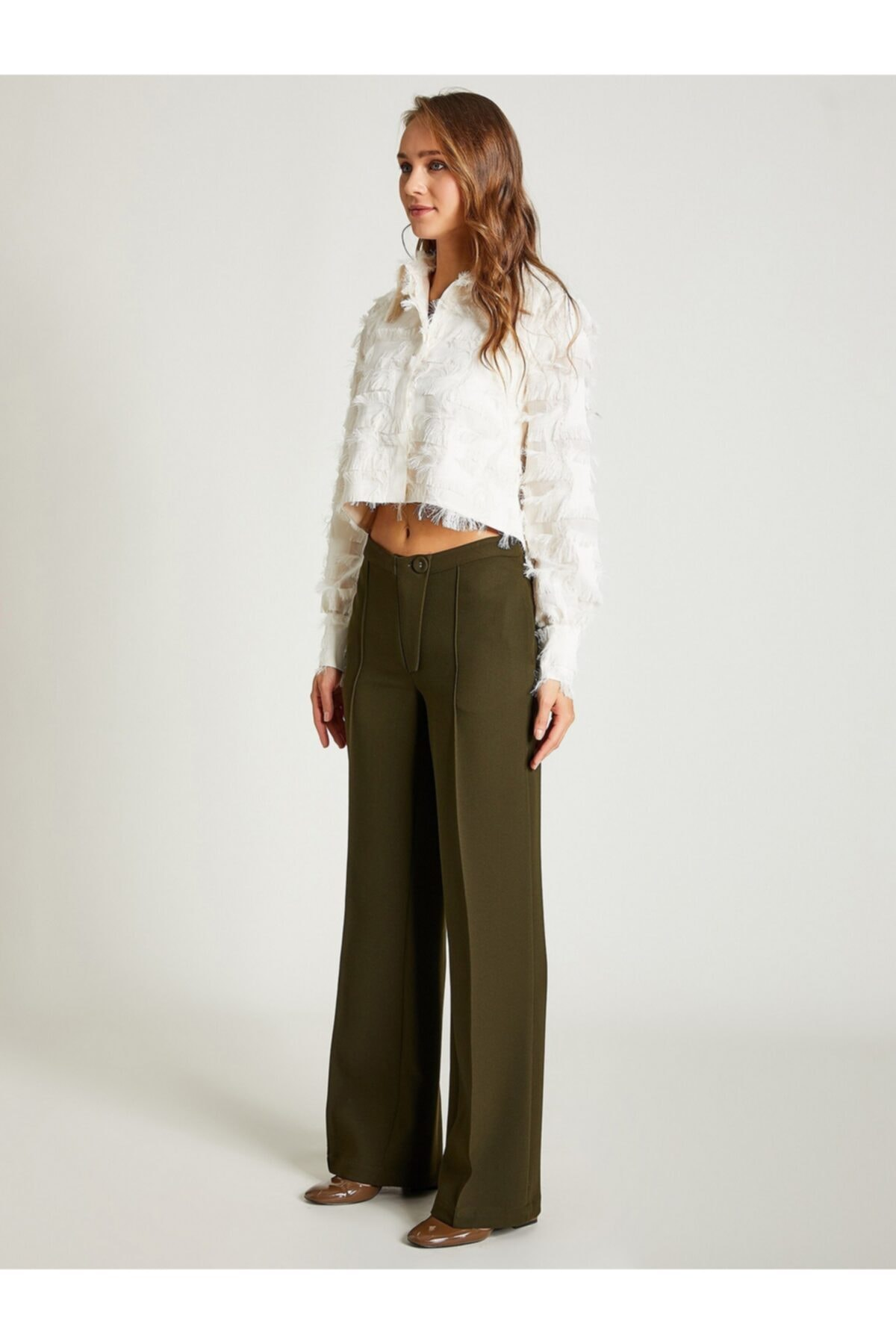 VKM Kadın Haki Rahat Kesim Pantolon 2