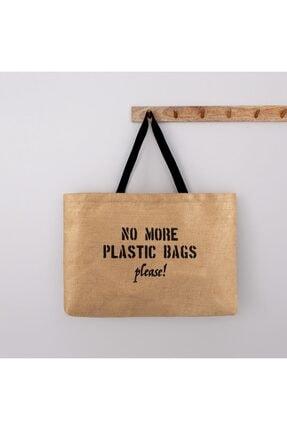 OCEAN HOME Kadın No More Plastic Bags Baskılı Jüt Plaj Çantası