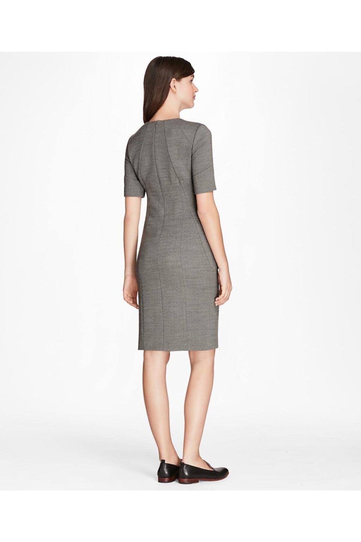 BROOKS BROTHERS Kadın Gri Slim Elbise 2