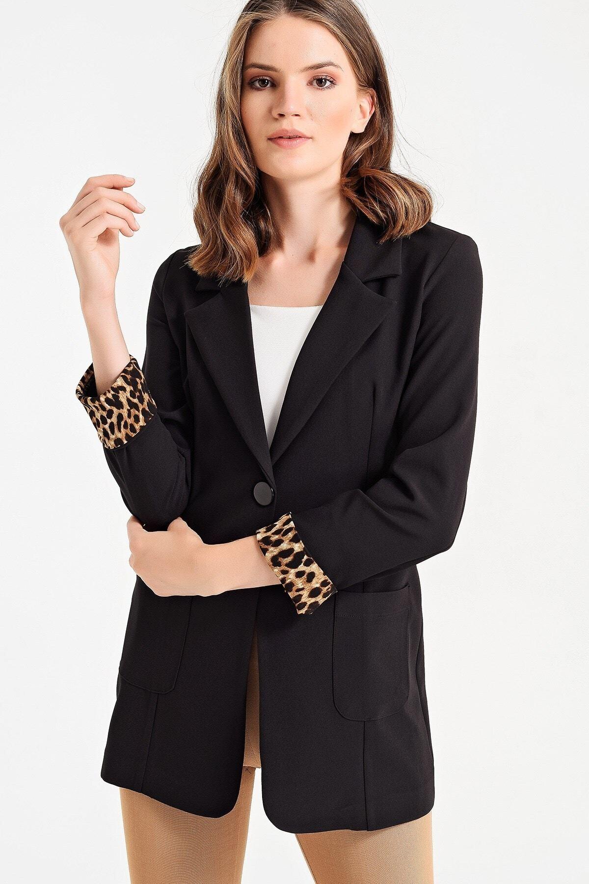 Jument Kadın Siyah Yakalı Cepli Uzun Kol Katlamalı Ceket 37000 2