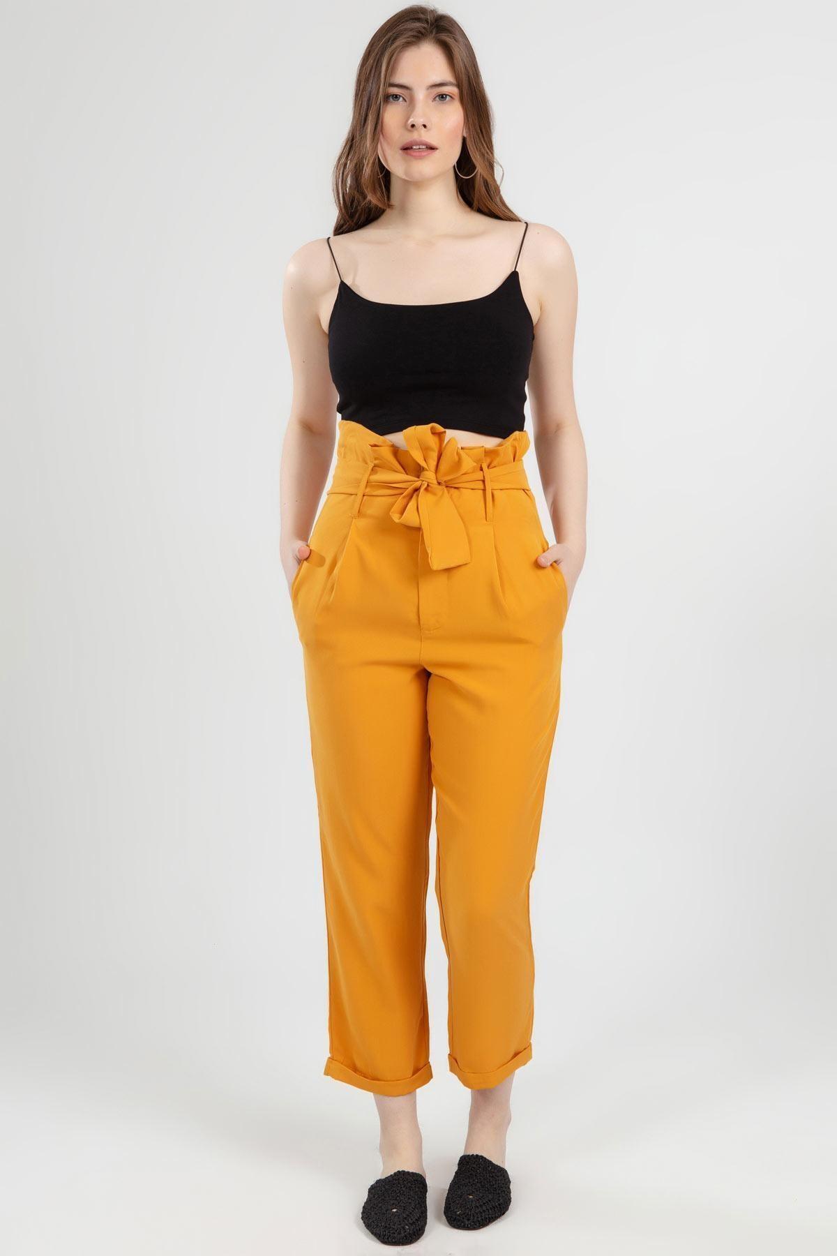 Y-London Kadın Sarı Belden Bağlamalı Duble Paça Yüksek Bel Pantolon 1