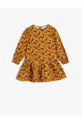 Koton Kız Çocuk Sarı Pamuklu Çiçekli Bisiklet Yaka Uzun Kollu Elbise