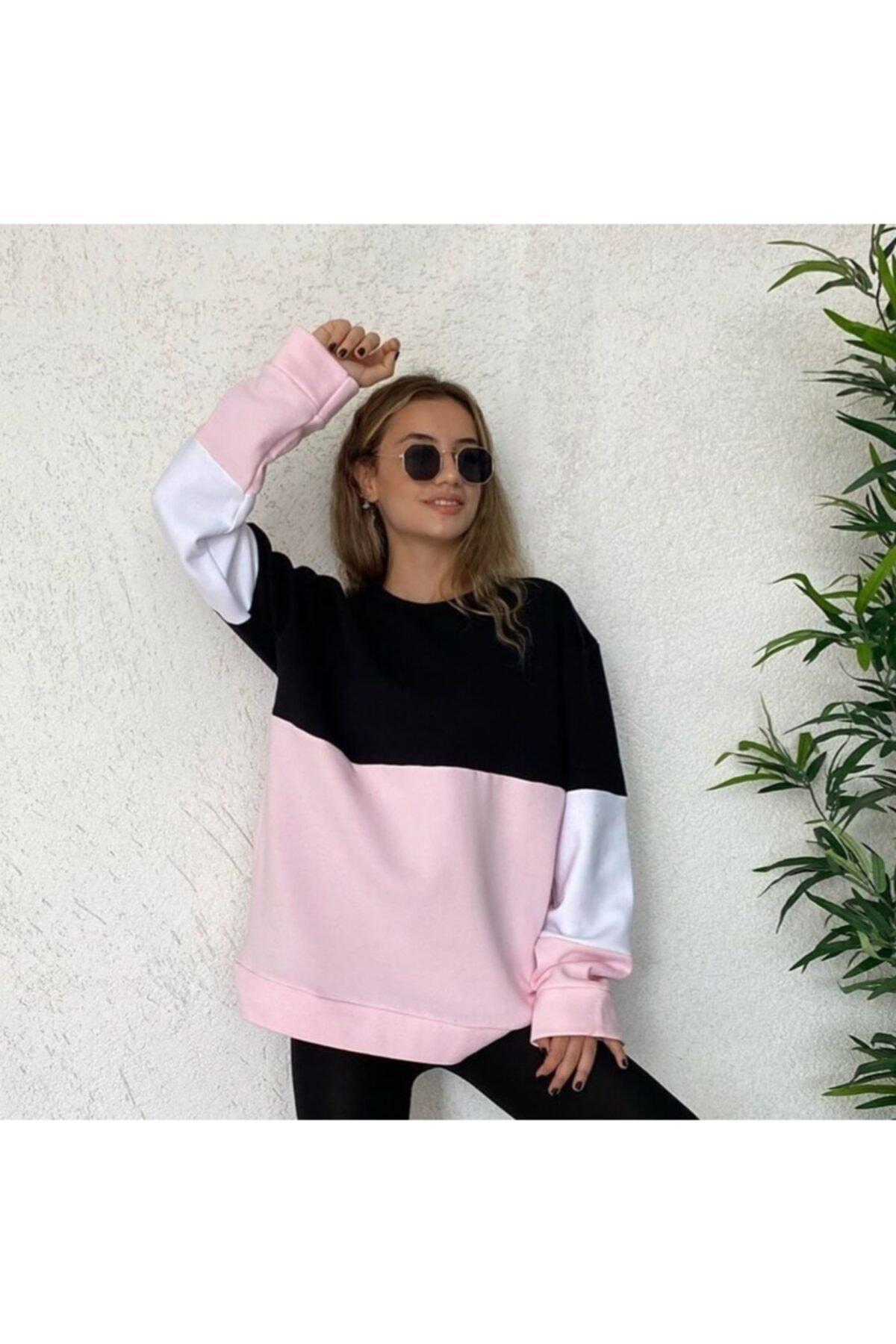 TREND Kadın Siyah Iki Renk Sweatshirt 1