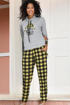 Yeni İnci Ekose Alt Uzun Kollu Süprem Penye Kadın Pijama Takım