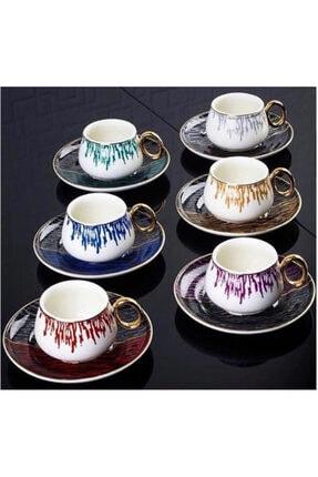 ACAR Ares Serisi 6'lı Porselen 6 Renk Kahve Fincanı Takımı