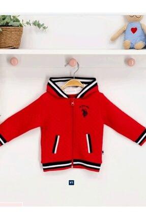 U.S. Polo Assn. Kırmızı Bebek Kapşonlu Hırka