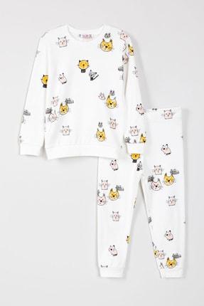 Krazber Kids Kız Çocuk Kedi Desenli Pijama