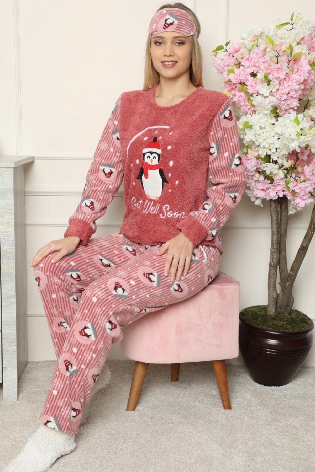 Pijamaevi Get Well Soon Desenli Kadın Peluş Pijama Takımı 1