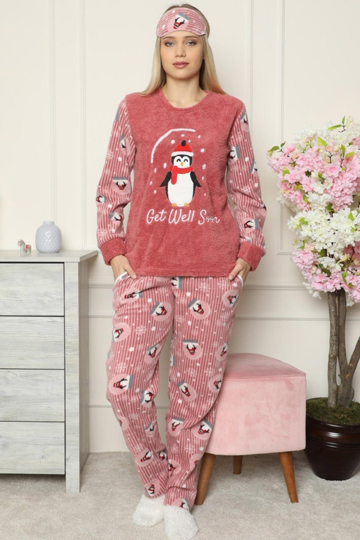 Pijamaevi Get Well Soon Desenli Kadın Peluş Pijama Takımı 2