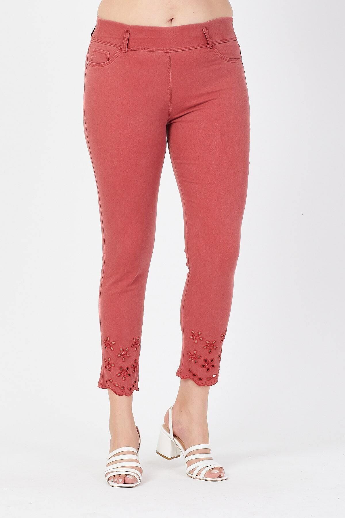 Siyezen Kadın Turuncu Büyük Beden Paçası Nakışlı Toparlayıcı Pantolon 1