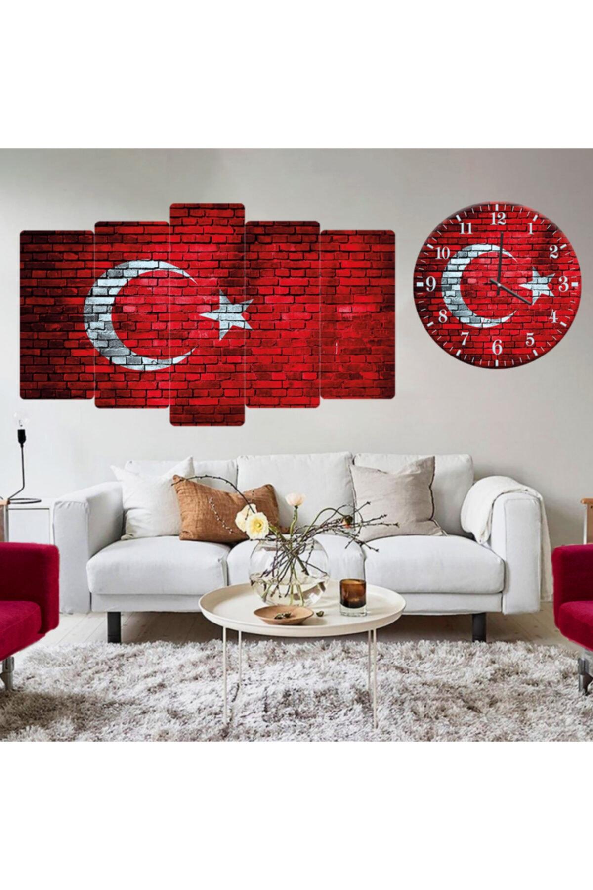 Zevahir Mobilya Dekorasyon Kırmızı Saat Türk Bayrağı Tuğla Desenli Kombin Tablo 1