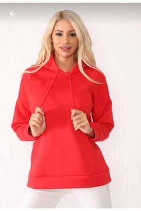 TREND Kadın Kırmızı Slim Crop Sweatshirt