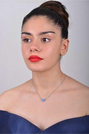 Midyat takı Kadın Mavi El Işi Göz Mineli Kare Halka Gümüş Zincirli Kolye