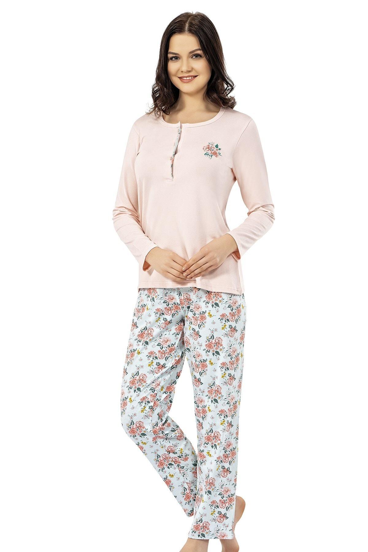 ERDEM İÇ GİYİM Kadın Pembe Yazlık Pijama Takımı 1